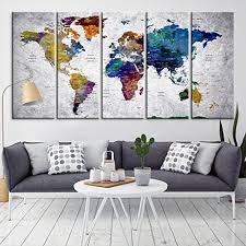 >amazon modern large abstract rainbow colorful wall art world  modern large abstract rainbow colorful wall art world map canvas print for wall decor wall
