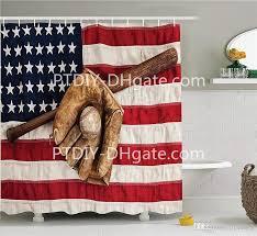 2019 sports decor shower curtain set vintage baseball league equipment with usa american flag fielding sports theme bathroom accessories from ptdiy2