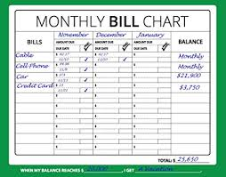 Monthly Bill Budget Amazon Com 16x12 Monthly Bill Chart Budget Expense Planner