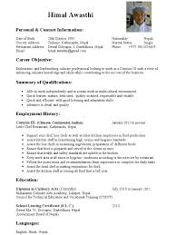 Excellent Chef Career Objective Contemporary Entry Level Resume