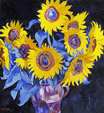 sunflower painting nine sunflowers with black background by vitali komarov