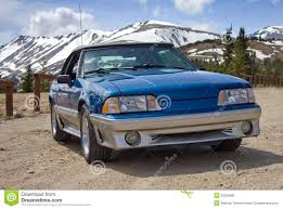 1989 Ford Mustang Convertible Blue Stock Photo - Image of ...