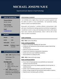 Chef Cv Template Cv Samples Pdf And Microsoft Word Format