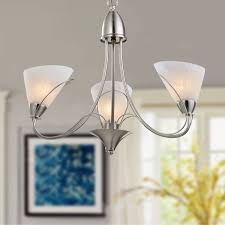 3 light silver iron modern chandelier with glass shades hkp31262 3
