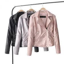 2018 new arrial women autumn winter faux leather jackets lady fashion rivet motorcycle coat biker black silver gold pink outwearwomens leather jackets