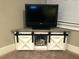 diy farmhouse corner tv stand sliding barn door entertainment