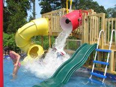 homemade above ground pool slide. 4f4432f9ad6e35561834dff3d503faba.jpg 640×480 Pixels · Backyard Water ParksWater Slides BackyardBackyard Splash PadAbove Ground Pool SlideDiy Homemade Above Slide