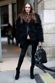 black fur coats streetstyleblack fur coats streetstyle