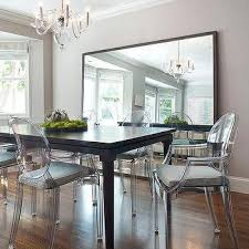 mirror for dining room wall. Gray Dining Room With Ghost Chairs Mirror For Wall A