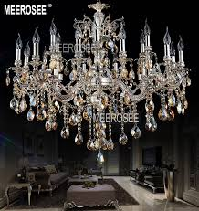 meerosee large 18 arms antique silver crystal chandelier lighting fixture cristal re lamp for hotel villa md8707 l18 d1030mm h830mm chandeliers alloy