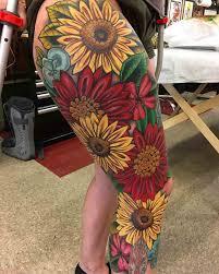 Flowers Leg Tattoo Sleeve цветы самурайское тату тату и