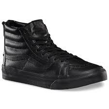 vans sk8 hi slim zip perforated leather shoes black black 4 5