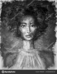 black and white portrait of a young beautiful girl with curly hair oil painting photo by viarti23