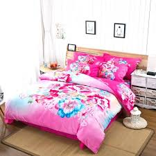 hot pink bedding set watercolor flowers bed sheets duvet cover queen king size pure cotton and hot pink bedding