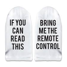 if you can this bring me the remote control men s no show  if you can this bring me the remote control men s no show socks printed text on sole