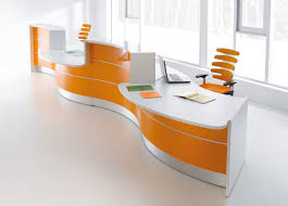 beauteous and cool office furniture reception desks orange and white tone with contemporary designer office chairs in modern room design inspirations arrange cool