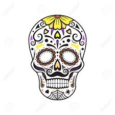 Coloring Sugar Skull Colorful Tattoo Mexican Day Of The Vector