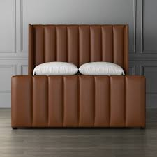 channeled leather bed headboard williams sonoma leather headboard