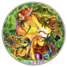 dinosaurs kids round table puzzle 50 pc