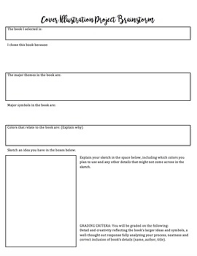 book cover project and worksheet perfect for book reports