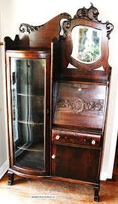 gorgeous american antique drop front oak secretary desk side by side bookcase 1900 1950 photo