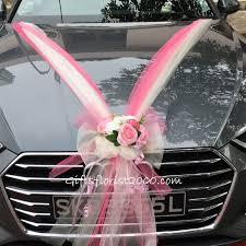 bridal car decoration 14 beautiful pink white