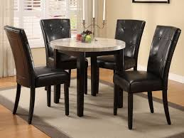 astounding design of the marble dining table set with black leather seat ideas added with grey