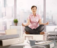 meditation office. Relaxed Office Worker Sitting On Cabinet, Doing Yoga Meditation With Closed Eyes, Smiling. C