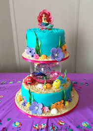 Ariel Cake Decorations Little Mermaid Cake With A Real Fish In The Bowl Cake Decorating