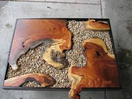 wood slab dining table beautiful: coffee table made from beautiful wood slabs and stones