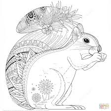 Squirrel Zentangle Coloring Page From Zentangle