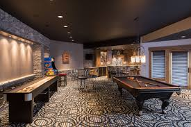 game room lighting ideas. Game-room-decorating-ideas-in-contemporary-basement-with- Game Room Lighting Ideas
