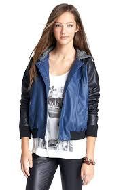 juniors faux leather jacket main image jack hooded faux leather jacket juniors