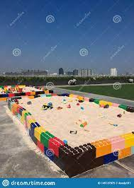 Sandbox On The Terrace At Department. Stock Image - Image of items, blue:  149137875