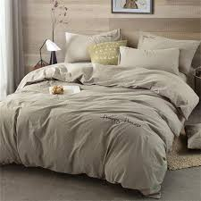 solid color simple cotton bedding set taupe queen