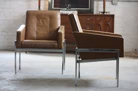 savage mid century modern leather chrome lounge arm chairs for alma desk co