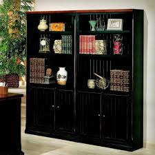 black bookcase with doors