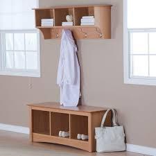 Hallway Storage Bench And Coat Rack Furniture Wooden Coat Hanger With Three Shelf And Steel Hook Plus 48