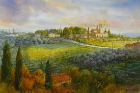 tuscan countryside watercolor painting of italy