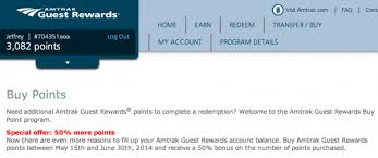 Amtrak Guest Rewards Redemption Chart Deal Blitz Purchase Amtrak Points For 50 Off Weekend Blitz