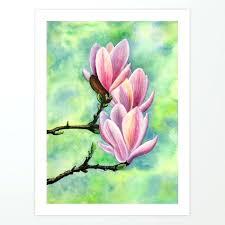 magnolia flower blossom fl botanical original painting watercolor pink blue white art print oil paintings magnolia flower painting white oil