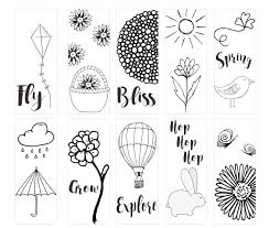 The printable bookplates are available in both pdf and microsoft word (doc) formats. Spring Printable Coloring Page Bookmarks Kleinworth Co