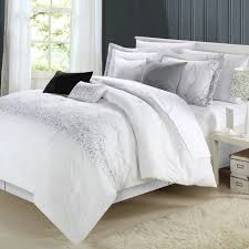 decorative comforter sets fascinating white comforter sets king with ivory rug and simple night table plus