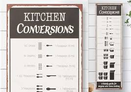 Kitchen Conversion Chart Decor Large Metal Kitchen Conversion Chart