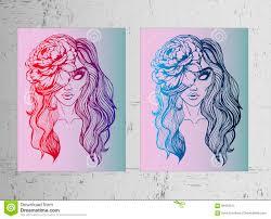 2 плаката девушка с пионом в ее волосах красивые и яркие эскизы