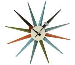 multi coloured sunburst clock