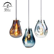 amber smoky blue glass pendant light