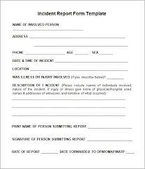 Workplace Incident Report Form Template Under Fontanacountryinn Com