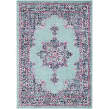traditional persian faded light blue pink rug