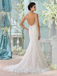 Illusion Beaded Neckline Fit Flare Lace Wedding Dress 116206